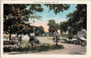 1956 BARABOO Wisconsin WI Postcard TOURIST CAMP Cars Tents CAMPING