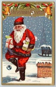 Christmas~Santa Juggles Toys~Roof~Sleigh~Black Fur Trim Suit~Gold Border~Conwell