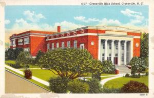Greenville North Carolina High School Street View Antique Postcard K94275