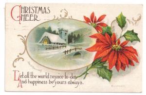 Artist Clapsaddle Poinsettia Snow Church Embossed IAP Vintage Christmas Postcard