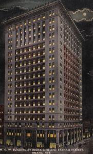 Nebraska Omaha Woodmen Of The World Building By Night Curteich