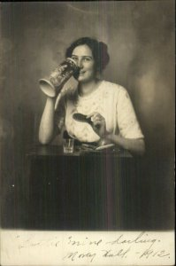 Pretty Woman Eating Food Drinking From Beer Stein St. Paul Minneapolis Studio