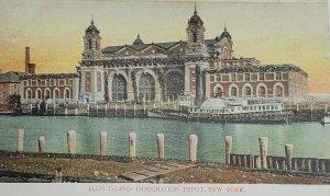 Ellis Island - Immigration Depot, New York - Wm Fletcher Boat Glitter Unposted