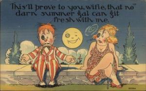 Sousal Domestic Abuse Politically Incorrect Humor Linen Comic Postcard
