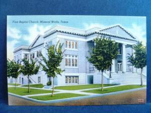 Postcard TX Mineral Wells First Baptist Church of Mineral Wells Texas