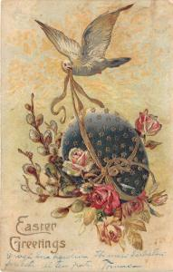 B2127 Belle Animation avec Oiseaux et Fleurs PPC 1912 holiday front/back scan