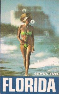 Florida Travel Poster PAN AM Airways, FL, Beautiful Woman, Sexy Blonde Bikini
