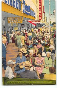 St Petersburg, FL Downtown Green Benches, Liggett Drugs, McCrory 1940s Postcard