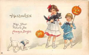E14/ Halloween Holiday Postcard 339E Girls Jack-O-Lantern Dog Cat 1