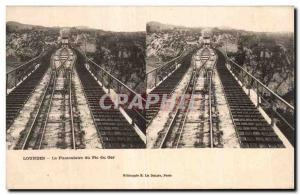 Stereoscopic Card - Lourdes - The Funicular of the Pic du Ger - Old Postcard