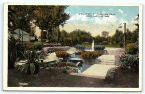 Postcard IN Indianapolis 1917 View Fountain at Fairview Park C30