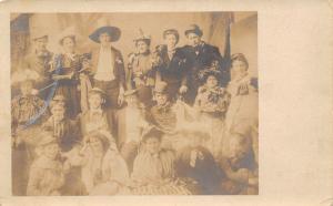 RPPC Costume Ball or Stage Performers~Dunce Cap~Irish Drum Major~Hobo c1910 PC