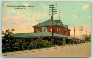 Kankakee Illinois Central Railway Station~Greenery Behind Hitching Posts 1912 PC