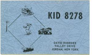 CB QSL - KID8278, David Robedee, Jordan NY