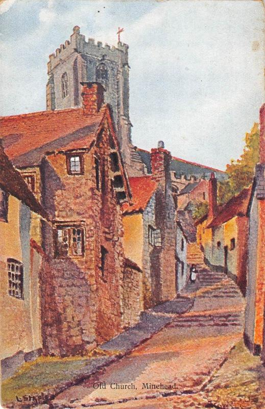 BR93939 old church minehead painting postcard   uk