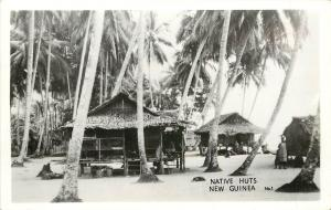 1940s RPPC Postcard; Papua New Guinea, Native Huts on Stilts, Grogan No.1
