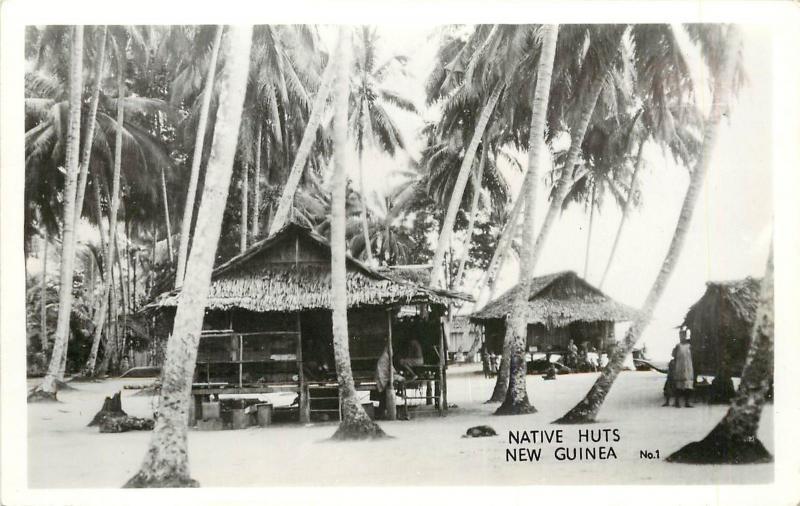 1940s RPPC Postcard; Papua New Guinea, Native Huts on Stilts, Grogan No.1