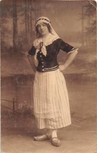 DUTCH FEMALE DRESSED IN FINERY AND WOODEN SHOES REAL PHOTO POSTCARDS c1914