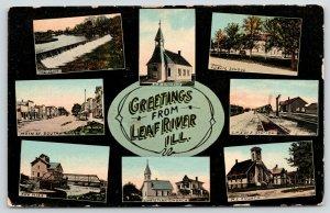 Leaf River Illinois~8 Multi-Mini Views~Main Street~Mill & Bridge~RR Depot~1908