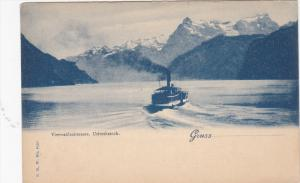 GRUSS AUS URIROTHSTOCK, Switzerland, 1900-1910's; Boat, Mountains
