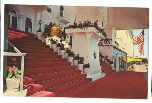 Grand Hotel Mackinac Island Michigan MI Entrance Stairs 1955 Gridley Postcard