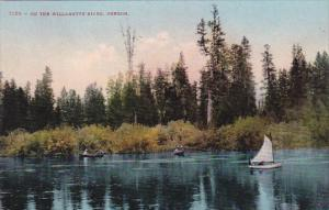 Oregon Sailboat and Canoes On The Willamette River