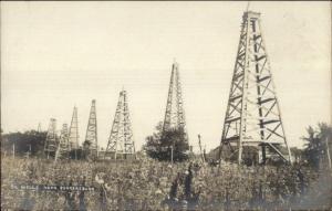 Parkersburg WV Oil Field Derricks c1905 Real Photo Postcard dcn