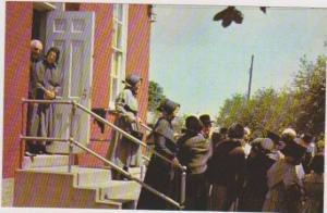 Reformed Mennonites Leaving Worship at Brownstone Church, Lancaster Co., Penn...