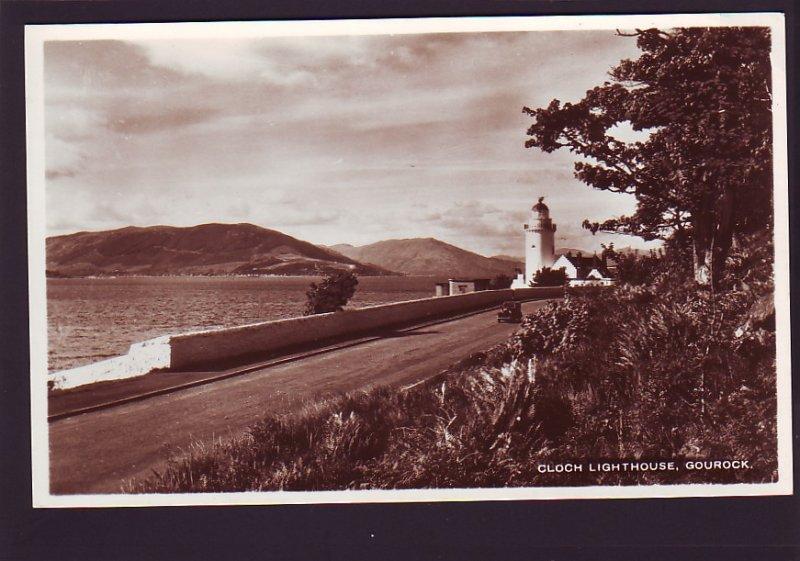 P1509 vintage unused RPPC clouch lighthouse gourock england