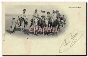 Old Postcard Donkey Mule Berck Beach