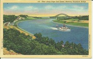 View Along Cape Cod Canal, Showing Sagamore Bridge