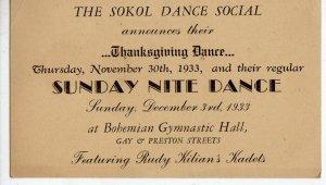 1933 THANKSGIVING DANCE*SOKOL SOCIAL*BOHEMIAN GYMNASTIC HALL BALTIMORE ESSEX