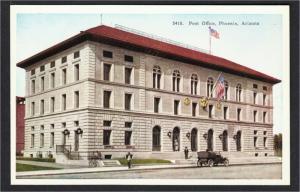 Phoenix AZ Post Office and Antique Car 1910s White Border Postcard