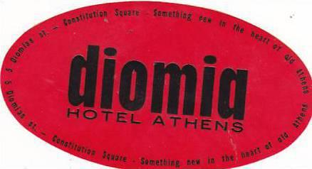 GREECE ATHENS DIOMIA HOTEL VINTAGE LUGGAGE LABEL