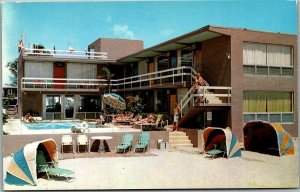 Lauderdale-by-the-Sea, Florida Postcard THE SURF MOTEL Pool / Beach View c1950s