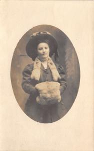 Fort Wayne Indiana~Beautiful Victorian Young Lady~Fur Muff & Stole~Hat~1909 RPPC