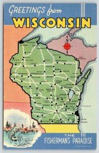 Wisconsin~State Map Postcard~Compass~Washburn~Darlington~Ellsworth~Chilton~1940