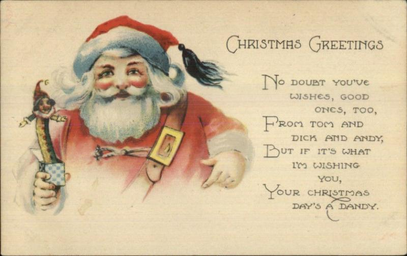 christmas santa claus w jack in the box toy 623 c1915 postcard - Jack In The Box Open Christmas Day