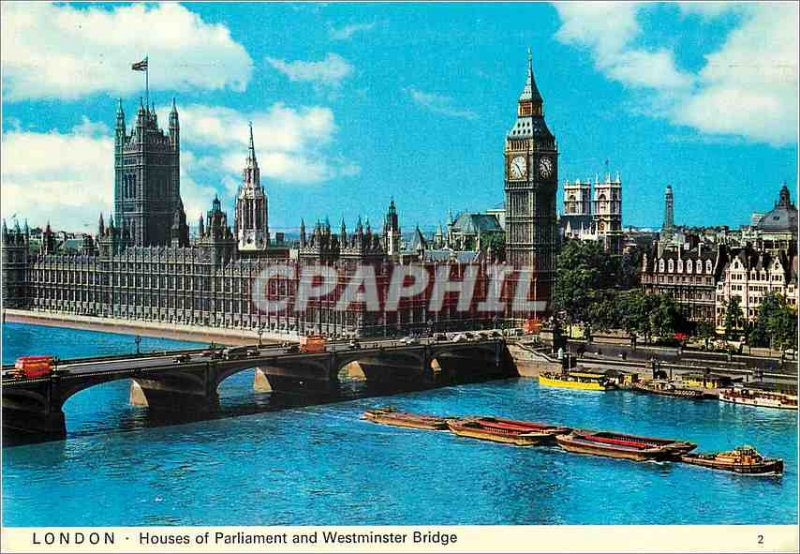 Postcard Modern London Houses of Parliament and Westminster Bridge