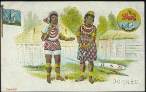 british north borneo, SABAH, Native Dayak People, Flag, Coat of Arms (1930s)