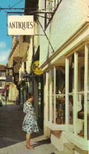 Woman at Antique Shop Horsham Square Norfolk England Vintage Postcard