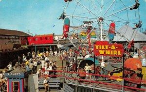 LPS19 Old Orchard Maine Amusement Park Tilt-A-Whirl Ferris Wheel Postcard