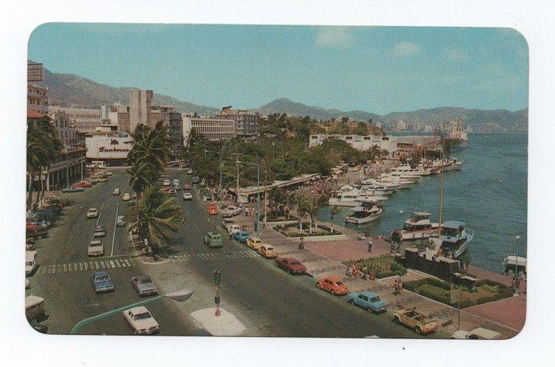 MEXICO postcard 1960 years ACAPULCO street scene cars car