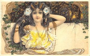 Raphael Tuck Art Nouveau Beautiful Woman Yellow #283 Postcard