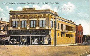 Enid Oklahoma~SH Kress & Co Display Windows~Fire Station~Owl Cigar~1910 Postcard