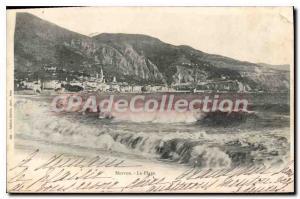 Old Postcard Menton Beach