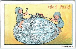 SIGNED ARTIST  Signe Aspelin   GLAD PASK (Easter) Giant Egg  c1910s   Postcard