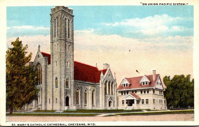 Wyoming Cheyenne St Mary's Catholic Cathedral Curteich