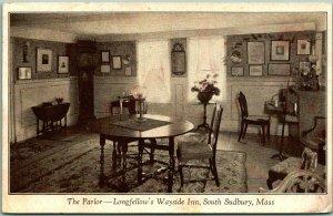 Sudbury, Massachusetts Postcard Parlor, Longfellow's WAYSIDE INN 1925 Cancel