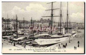 Old Postcard Le Havre Bassin du Commerce and the Quai d & # 39Orleans Boat